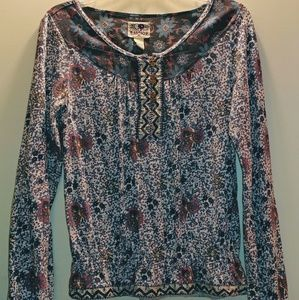 Lucky, Floral, Bohemian Long-Sleeve Top, XS